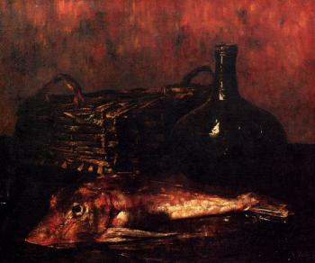 A Still Life With A Fish A Bottle And A Wicker Basket